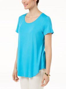 JM Collection Women Size Medium M Mermaid Blue Pullover Top