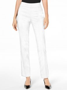 JM Collection Petites Size PP White Slim-Leg Pants