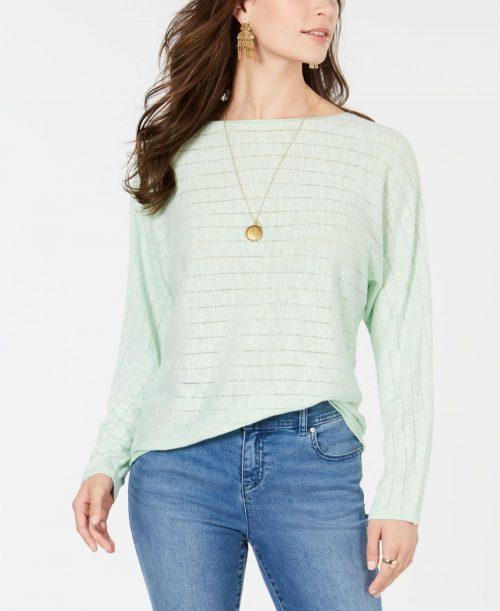 Style & Co. Women Size Medium M Light Green Sweatshirt Sweater