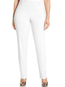 JM Collection Plus Size 28WP White Slim-Leg Pants