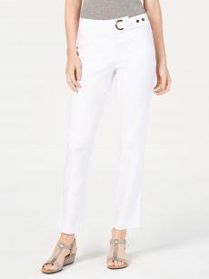 JM Collection Women Size XXL White Slim-Leg Pants