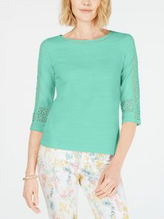 Charter Club Petites Size PL Mint Pullover Top