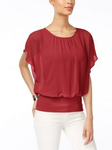 JM Collection Petites Size PS Red Blouse Top