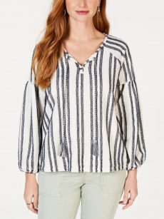 Style & Co. Women Size Small S White Peasant Top