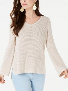 Style & Co. Women Size Medium M Beige Pullover Sweater