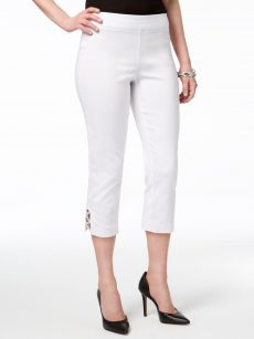 JM Collection Petites Size PXL White Capris Cropped Pants