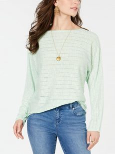 Style & Co. Women Size Medium M Light Green Sweatshirt Sweater