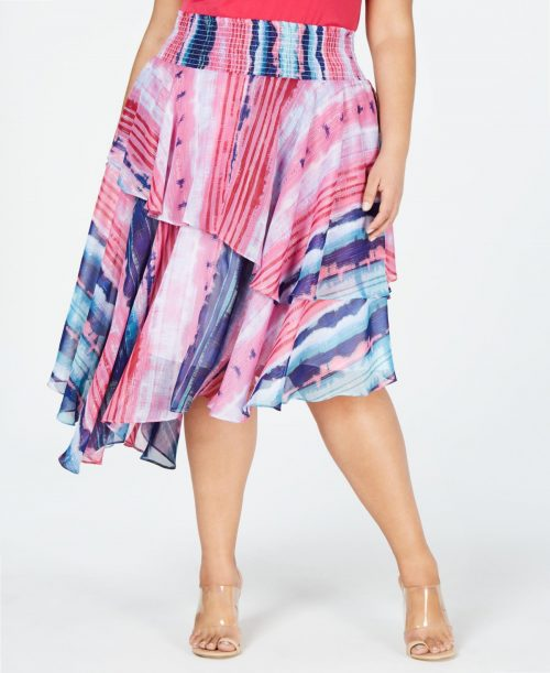 INC Plus Size 4X Multi Asymmetrical Skirt