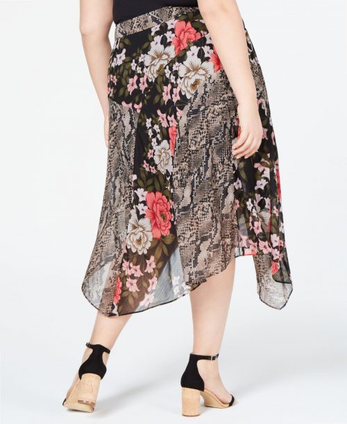 INC Plus Size 16W Black Midi Skirt