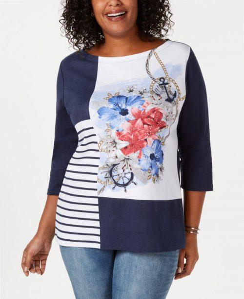 Karen Scott Plus Size 1X Navy Pullover Top