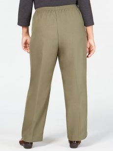 Karen Scott Plus Size 1X Green Straight-Leg Pants