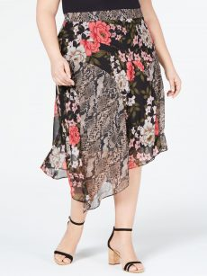 INC Plus Size 24W Black Midi Skirt