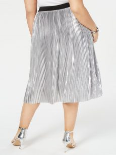 INC Plus Size 1X Silver Pleated Skirt