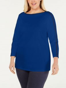 Charter Club Plus Size 0X Royal Blue Pullover Top