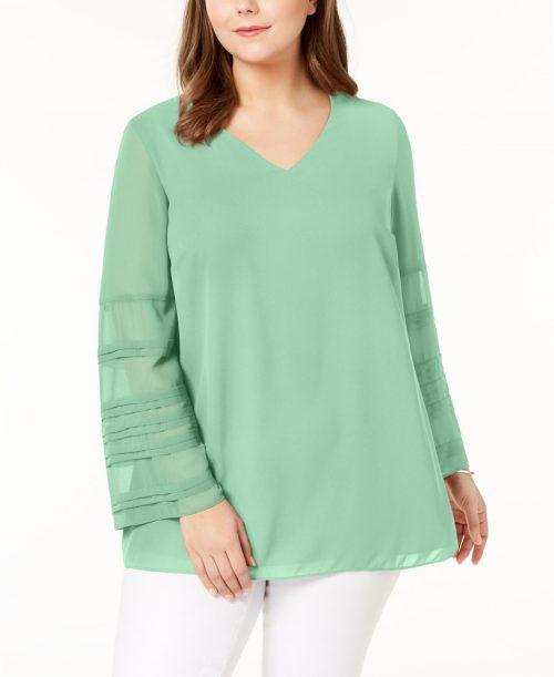 Alfani Plus Size 0X Mint Blouse Top