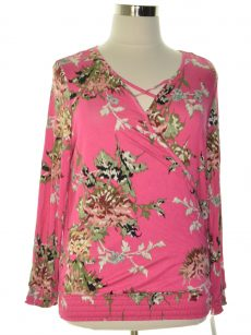 Style & Co. Women Size Large L Hot Pink Blouse Top