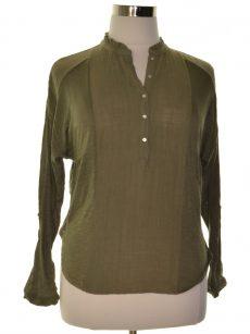 Lucky Brand Women Size Medium M Green Henley Top
