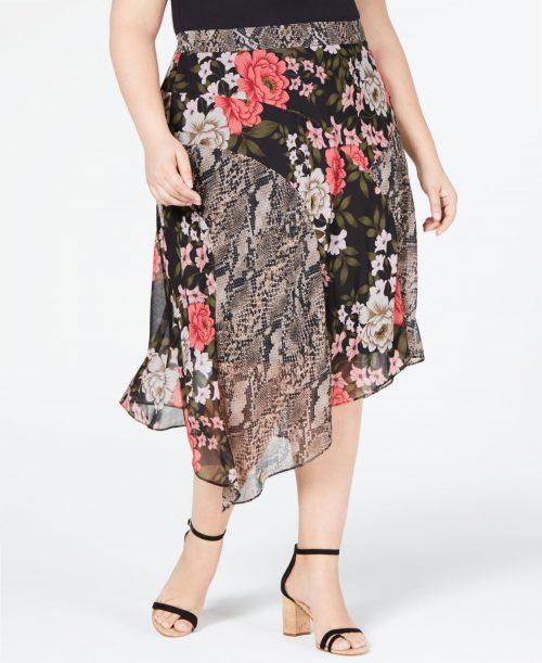 INC Plus Size 18W Black Midi Skirt