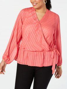 INC Plus Size 0X Coral Wrap Top