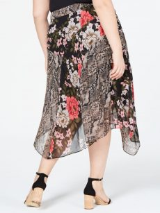 INC Plus Size 16W Black Midi Skirt