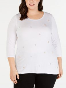 INC Plus Size 2X White Pullover Top