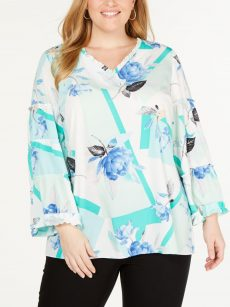 Alfani Plus Size 0X Multi Blouse Top