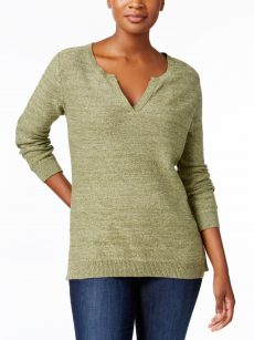Karen Scott Petites Size PM Green Pullover Sweater