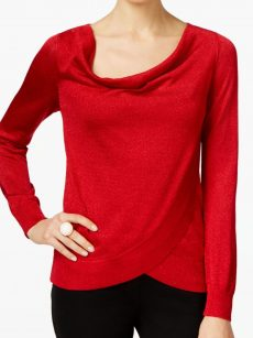 INC Women Size Medium M Red Faux-Wrap Sweater