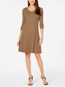 NY Collection Petites Size PM Brown Sweater Dress