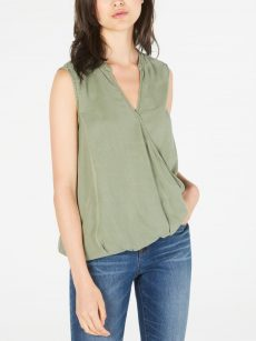 Two By Vince Camuto Women Size Small S Green Faux Wrap Top