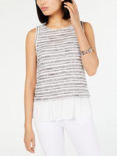 INC Women Size XL White Black Tank Top
