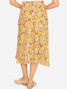 Sanctuary Women Size Medium M Yellow Faux-Wrap Skirt