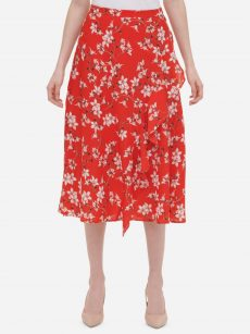 Calvin Klein Women Size 16 Bright Red A-Line Skirt