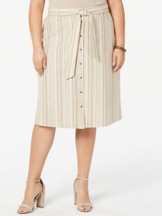 Bar III Plus Size 14W Beige A-Line Skirt