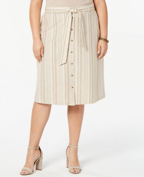 Bar III Plus Size 14W Beige A-Line Skirt