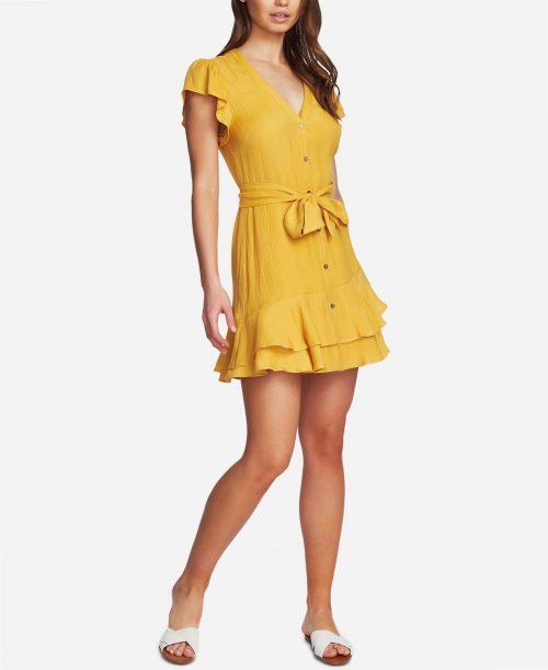 1.State Women Size 0 Gold Shift Dress