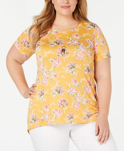 NY Collection Plus Size 2X Yellow Blouse Top