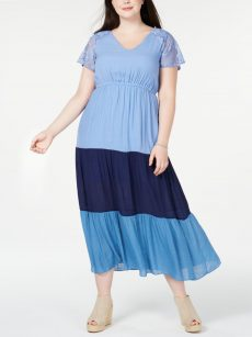 NY Collection Plus Size 2XP Blue Maxi Dress