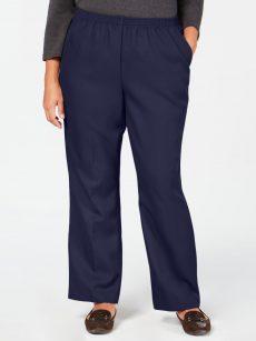 Karen Scott Plus Size 3X Navy Blue Straight-Leg Pants