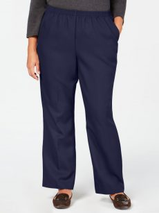 Karen Scott Plus Size 1X Navy Blue Straight-Leg Pants