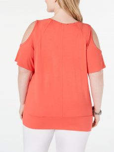 JM Collection Plus Size 2X Coral Pullover Top