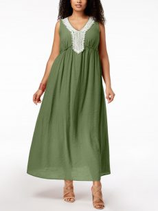 NY Collection Plus Size 2X Green Maxi Dress