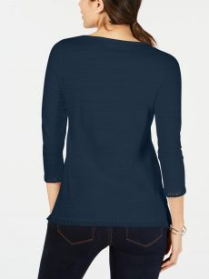 Charter Club Petites Size PM Navy Pullover Top