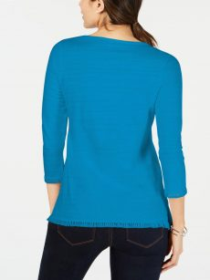 Charter Club Petites Size PM Blue Pullover Top