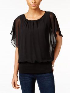 JM Collection Petites Size PL Black Blouse Top