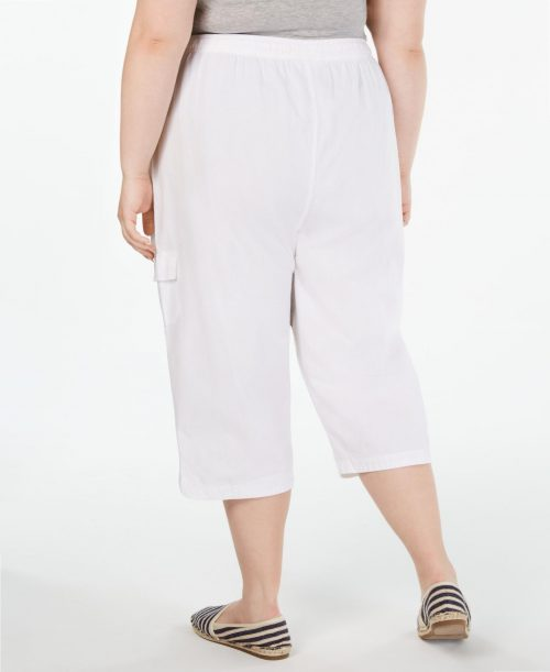 Karen Scott Plus Size 3X White Capris Cropped Pants