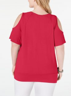 JM Collection Plus Size 1X Fuchsia Pullover Top